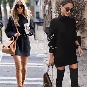 Turtleneck sweater dress black pockets knit 643017